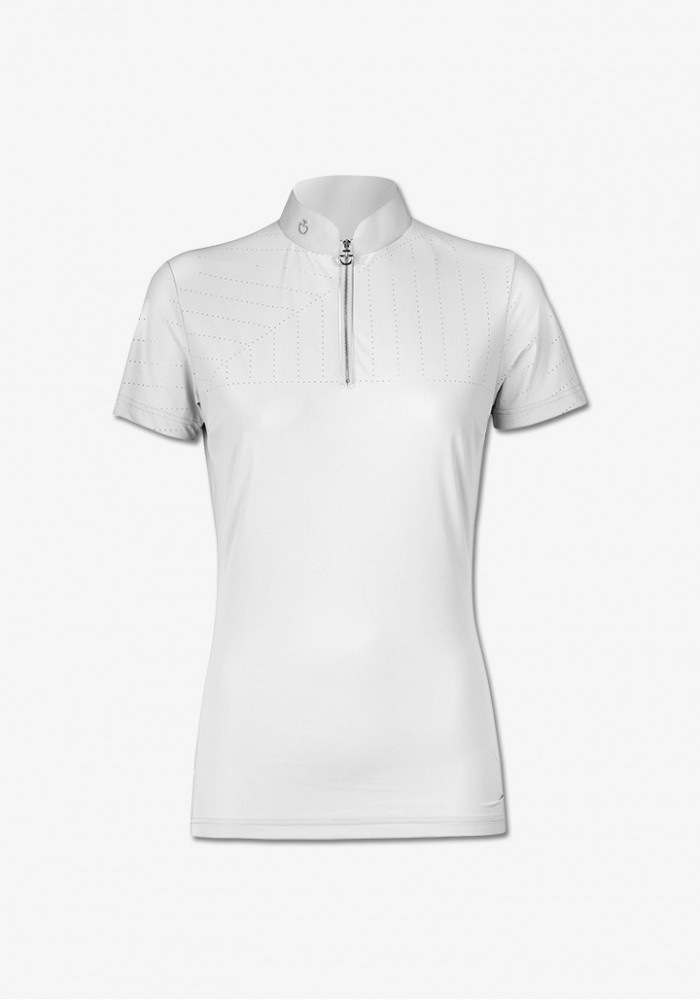 f1d473f0153f ... Cavalleria Toscana - Perforated Sailing Jersey Competition Polo W/ Front  Zip ...
