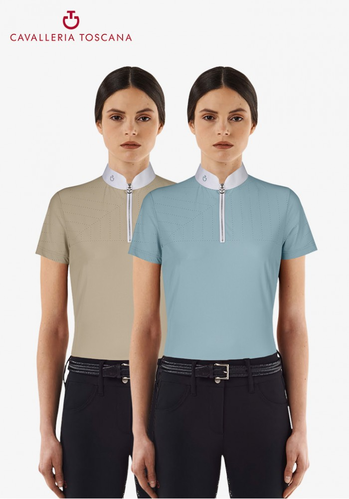b30fb6af736c Cavalleria Toscana - Perforated Sailing Jersey Competition Polo W/ Front Zip  - Horseheim