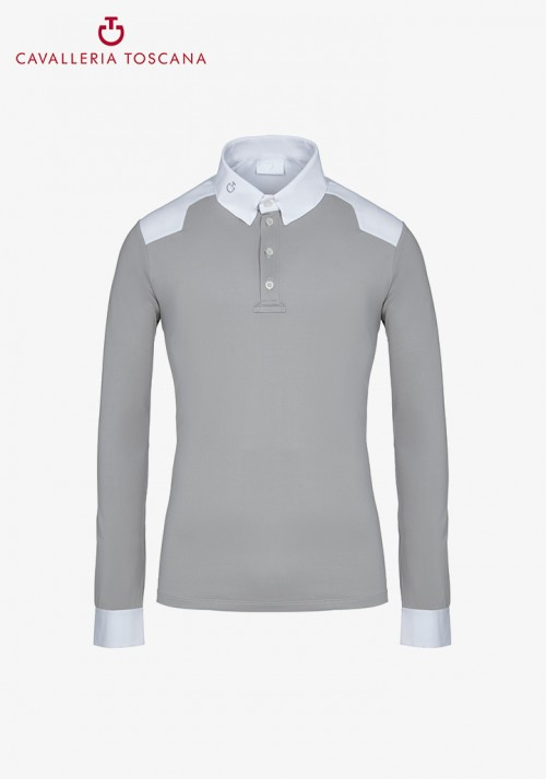Cavalleria Toscana - Tech Piquet W/Jersey Insert L/S Competition Polo