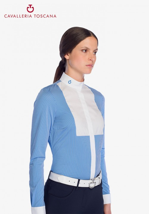 Cavalleria Toscana - Embossed Stripe L/S Shirt With BIB