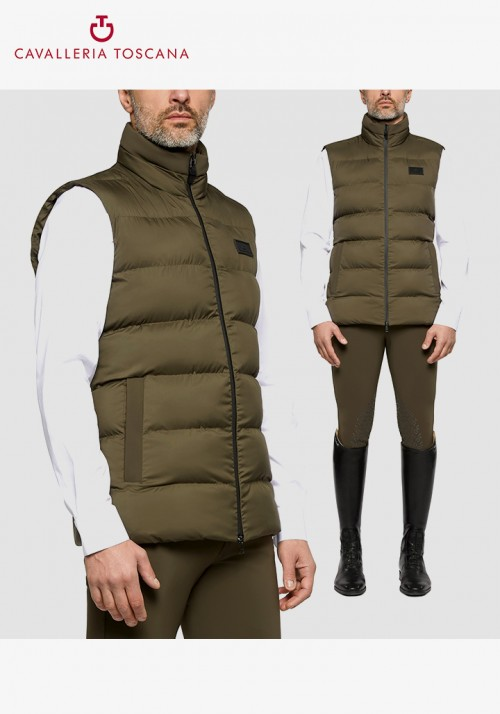 Cavalleria Toscana - Men's Nylon Hooded Vest W/Fleece Pocket Lining
