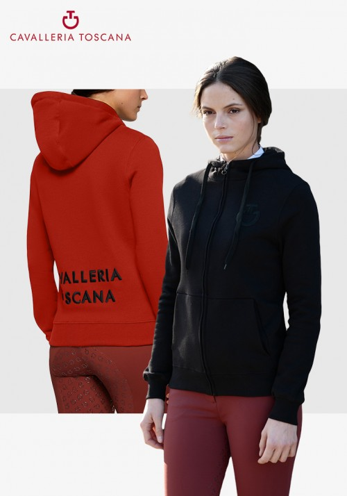 Cavalleria Toscana - Women Embossed Embroidery Logo Hooded Zip Sweatshirt