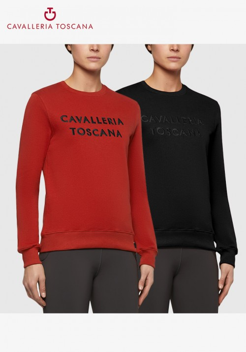 Cavalleria Toscana - Women Embossed Embroidery Crew Neck Sweatshirt