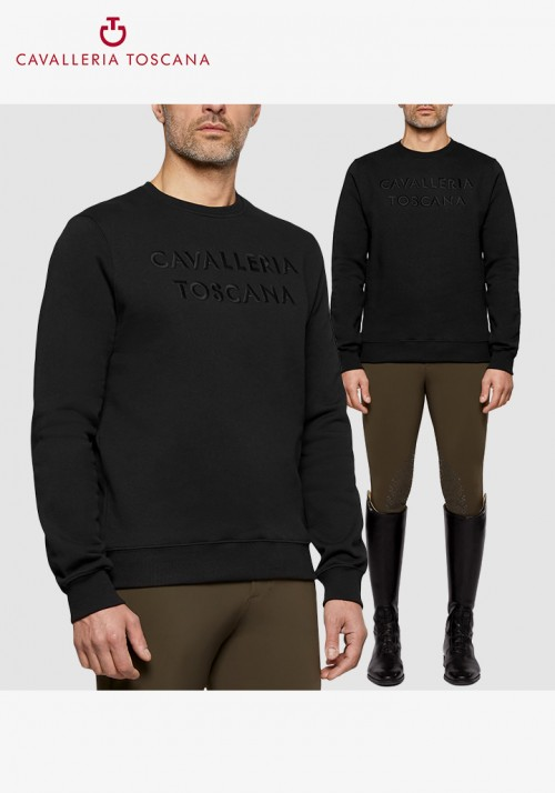 Cavalleria Toscana - Men Embossed Embroidery Crew Neck Sweatshirt