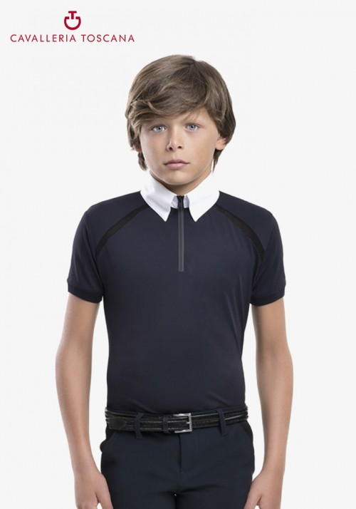 Cavalleria Toscana - Boy's mesh line Competition polo shirt