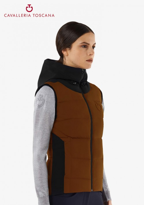Cavalleria Toscana - Quilted Matte Nylon Hooded Puffer Vest With Jersey Insert