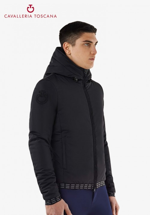 Cavalleria Toscana - Men's Nylon Hooded Jacket With Pattern Fleece Lining